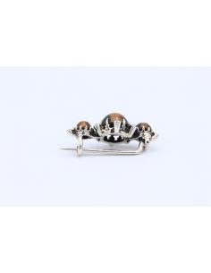 Broche Napoleon III en argent, perles et œil de tigre-The Vintage Workshop